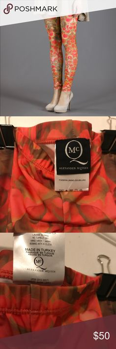 Alexander McQueen Floral Leggings Beautiful orange floral Alexander McQueen leggings. They were gifted to me and never worn. Perfect condition and a great item to pair with a chunky sweater and boots. Alexander McQueen Pants Leggings