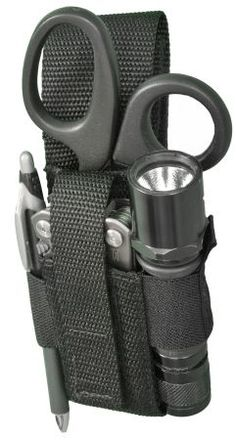Tactical Light/Knife/Scissor Pouch EMT Pouch / Holster Holds Tactical-Flashlight, Folding Knives Up To 6' Long, A Pen And A Pair Of Scissors A Great Pouch For Paramedics, Camper, Hikers, Military, Hunters And Handymen Durable Polypro Webbing Easy To Wash And Drain Unaffected By Water, Oil And Mildew Sold Empty