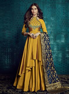 VJV Fashions presenting Wonderful Gold Color Silk Designer Anarkali Suit shop from our biggest collection of designer salwar suit, party wear salwar suit Silk Anarkali Suits, Anarkali Dress, Lehenga, Salwar Suits Party Wear, Indian Gowns, Indian Wear, Indian Outfits, Designer Anarkali, Designer Gowns