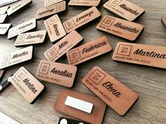 Name badge magnetici in legno realizzati per @relaissanmaurizio 🍃 #wooddemon #woodlife #namebadge #magnet #personalizzazioni #madeinitaly… Identity Card Design, Branding Design, Logo Design, Name Badges, Pin Badges, Name Tag Lanyards, Conference Badges, Wood Names, Cute Names