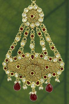 KUNDAN LATEST DESIGN PASA JHOOMAR IN RUBY COLOR #Pasa #MuslimWedding #IndianBridalJewllery #WeddingJewellery