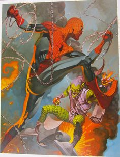 Spidey Battles Green Goblin by Christopher Stevens