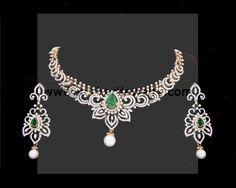 Diamond Necklace - Bridal Diamond Necklace Set, Nakshatra Pattern Diamond Necklace Set, Indian Wedding Diamond Necklace Set
