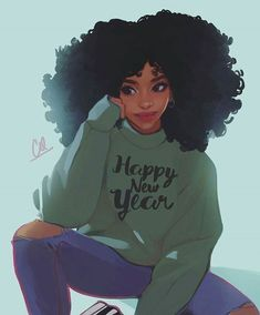 Welcome back to Afro Frenzy! Y'all already know it's that time of year again. Everybody including ya girl has some New Year resolution up their sleeve. In this post I'm going to s… Black Love Art, Black Girl Art, Black Girl Magic, Art Afro Au Naturel, Drawings Of Black Girls, Black Girl Cartoon, Black Art Pictures, Natural Hair Art, Pelo Afro