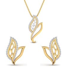 SwaraEcom 14K Yellow Gold Plated Round AAA Cubic Zirconia Fashion Jewelry Leaf Pendant Summer Sale