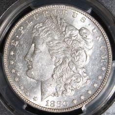 1880 O PCGS AU 58 Brilliant Morgan Silver Dollar