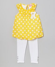 Love this Yellow Polka Dot Yoke Tunic & Leggings - Infant, Toddler & Girls on #zulily! #zulilyfinds