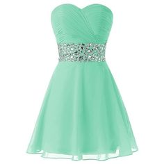 Queensroyal Sweetheart Short Party Homecoming Beaded Waist Dress ($108) ❤ liked on Polyvore featuring dresses, green party dress, short party dresses, formal dresses, short bridesmaid dresses and beaded cocktail dress