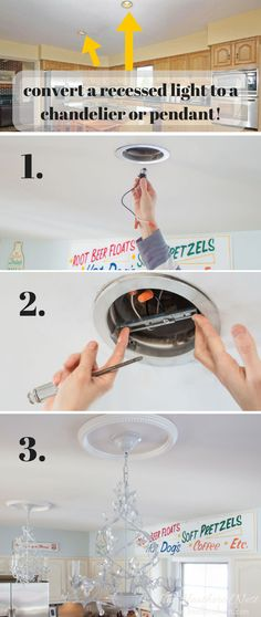 THIS LOOKS PRETTY EASY!! GREAT tutorial for how to change a light fixture/how to change a recessed light to a chandelier or pendant light. Would be awesome in our kitchen/master bath!!