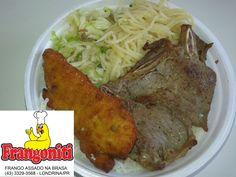 Cardápio do dia: Bisteca de boi, filé de frango a milanesa, macarrão alho e óleo, repolho refogado, arroz com feijão mais salada.