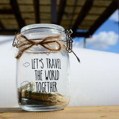 LET'S TRAVEL - Vinyl Decal ONLY for Money Jar - Glass, Saving, Travel, Vacation Fund - Gift for Him/Her, Anniversary, Birthday, Love, Family