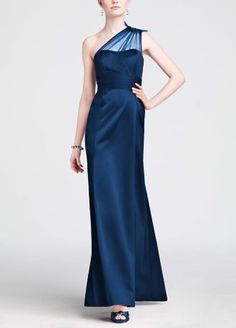 SALE $49.99, wedding pallet: Lapiz only. Be drop dead gorgeous in this stunning satin Bridesmaid's dress!  One shoulder bodice features sparkling sheer eye-catching beaded detail.   Empire band cinches waist creating a flattering silhouette sure to please.  Long satin skirt is elegant and timeless.  Fully lined. Back zip. Imported polyester. Dry clean.