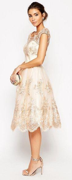 Lace Midi Bridesmaid Dress With Bardot Neck