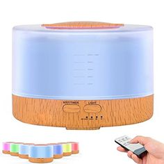 FICBOX Remote Control 500ml Cool Mist Humidifier Ultrasonic Aroma Essential Oil Diffuser for Office Home Bedroom Living Room Study Yoga Spa - Wood Grain