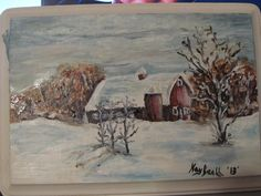 A winter scene painted on a 3 x 5 inch wood piece