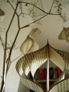 Golden papers  set of six decorations by Bookity on Etsy
