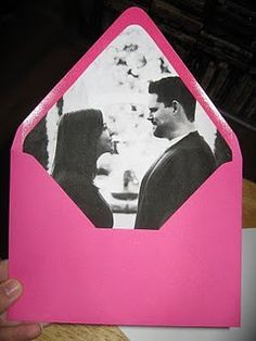 This is such a great idea.... Lining your invitations with a picture!