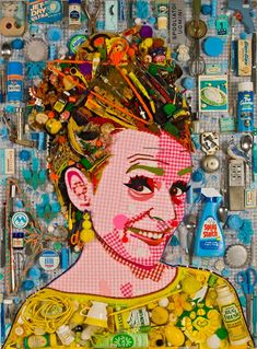 Amy Sedaris, mosaic portrait created using her own junk - Jason Mercier