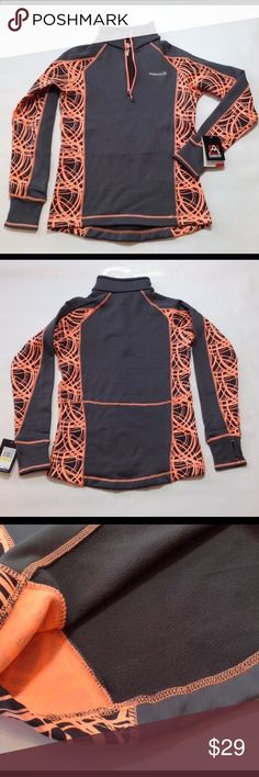 "Avalanche Mogul pullover w/ thumbholes Next to skin fit. Breathable, provides unrestrictive movement & agility. Fast wicking & naturally regulates body temp. Charcoal and bright coral orange. Sleeves with thumb holes 29"" from neckline, 26"" length, 19"" bust. 95% poly/5% spandex. Jackets & Coats"