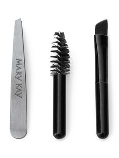 Mary Kay Brow Tools $4.00   This set includes tweezers for shaping, a spooley brush for grooming brow hairs and a angled brush for applying brow powder.  High-quality, slanted-tip tweezers are the perfect tool for all your brow hair removal needs.  The angled-brush also can be used with Mary Kay® Mineral Eye Color to fill in brows.    Perfectly sized to fit all Mary Kay® compacts.