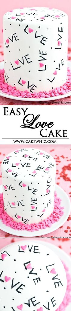 This easy and pretty LOVE CAKE is decorated with just heart sprinkles and black edible marker! Tutorial included. Great for Valentine's Day or Mother's day. From cakewhiz.com