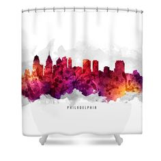 Philadelphia Pennsylvania Cityscape 14 Shower Curtain by Aged Pixel