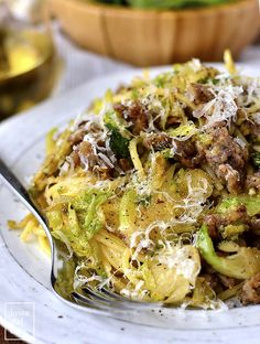 20 Minute Sausage, Brussels Sprouts and Parmesan Pasta will be on the table in absolutely no time. A filling and flavorful gluten-free dinner recipe! Pasta Dinner Recipes, Gluten Free Recipes For Dinner, Paleo Dinner, Bratwurst, Pork Recipes, Cooking Recipes, Healthy Recipes, Chili, Spaghetti