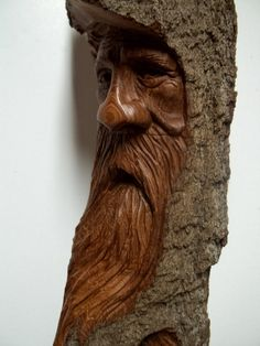 woodspirit hand carved in cottonwood bark by WoodcarvingByMike
