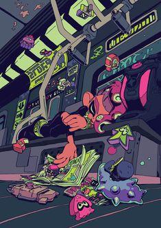 Illustration for charity zine , about Splatoon 2 Octo Expansion . Splatoon Memes, Nintendo Splatoon, Splatoon 2 Art, Splatoon Comics, Nintendo Games, Video Game Art, Video Games, Pokemon, Cartoon Art