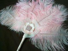 Pale Pink Ostrich Feather & Diamante Burlesque Fan