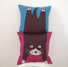 1 pair lovely Cat square Pillow cover / throw pillow by linxge