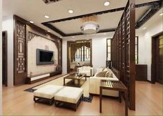 traditional chinese interiors    living room wooden furniture