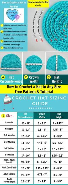 to Crochet Basic Hat in Any Size - free pattern & tutorial How to crochet a hat in any size - free pattern and tutorial at Crochet For You.How to crochet a hat in any size - free pattern and tutorial at Crochet For You. Crochet Hat Sizing, Bonnet Crochet, Crochet Chart, Crochet Ideas, Crochet Beanie Hat Free Pattern, Crocheted Hats, Baby Hat Crochet, Crochet Stitches Free, Crochet Afghans