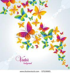 vector stock: Fondo colorido con la mariposa.  Vector.