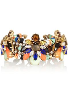 J.Crew | Honeybee gold-plated, crystal and Czech stone bracelet  | NET-A-PORTER.COM