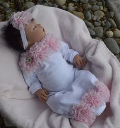 Gorgeous Layette Gown for baby in size newborn. White with pink cabbage chiffon roses.      Comes with matching headband    Size newborn which is 0-3mo.