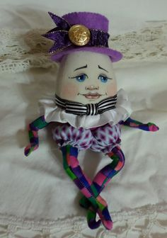 OOAK Art Doll - Humpty Dumpty Cloth Doll - Mother Goose Nursery Rhyme - Paula McGee - Paula's Doll House - Black White Stripe Bowtie by paulasdollhouse on Etsy