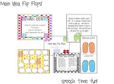 Speech Time Fun: Main Idea Flip Flops! Activities to work on reading/auditory comprehension over the summer. Pinned by SOS Inc. Resources. Follow all our boards at pinterest.com/sostherapy for therapy resources.