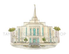 Gilbert, Arizona LDS Watercolor Temple