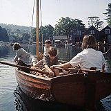 The Swallows rowing into Rio, the town which in reality is Bowness-on-Windermere. Sadly the old green boatsheds in the background have been replaced with a modern development but you can still walk along the jetty and take a steamer to Lakehead and the take a ride on the steam railway featured in the film.