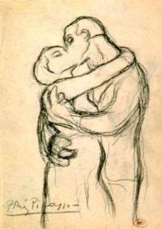 colin-vian: Pablo Picasso - Il bacio, s. Picasso Prints, Kunst Picasso, Art Picasso, Picasso Sketches, Pablo Picasso Drawings, Art Drawings, Georges Braque, Guernica, Pablo Picasso Zeichnungen
