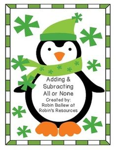 FREE! 16 penguin themed task cards, a recording sheet with room to write the equations, and an answer key.