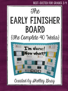 This site provides directions on how to incorporate an early finisher board in the classroom. This can be used for students who have free time after finishing their work early. By having a early finisher board and setting the proper expectations with students, they should know exactly what to do when they finish their work early.
