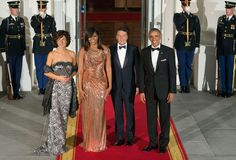 Matteo Renzi of Italy is honored at the Obamas' thirteenth state dinner on October 18, 2016