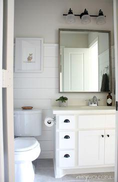 Beautiful shiplap walls in the bathroom.