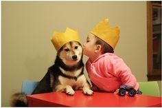 Imagens fofas de bebê com cachorro