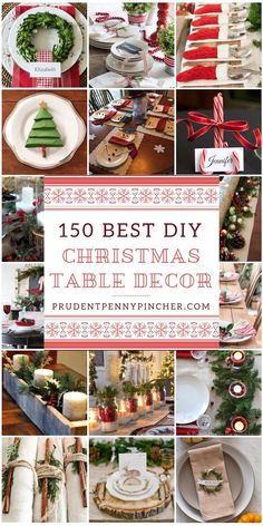 150 Creative DIY Christmas Table Decorations - - These beautiful Christmas table decorations will wow your Christmas dinner guests. There are DIY ideas for place cards, centerpieces, and tabelscapes. Christmas Place Cards, Christmas Table Settings, Christmas Tablescapes, Christmas Centerpieces, Rustic Christmas, Christmas Crafts, Christmas Decorations, Christmas Place Setting, Preppy Christmas