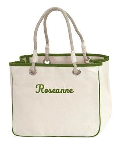 Take a look at this Green Reliable Rope Personalized Tote by CB Station on today! Just For You, Take That, Monogram Tote, Totes, Great Gifts, Tote Bag, Classic, Green, Bags
