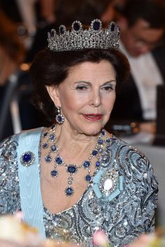 Queen Silvia of Sweden attends the Nobel Prize Banquet 2015 at City Hall on December 10 2016 in Stockholm Sweden