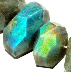 gemspleases : 16-20mm Freeform Faceted Labradorite Loose Gemstone Beads